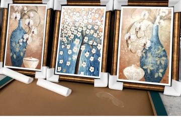 客厅沙发背景墙挂画 玄关书房瓷板画 屏风隔断装饰画