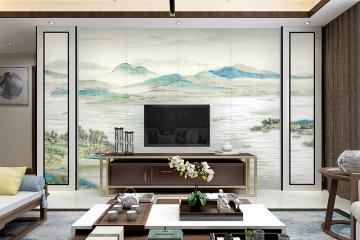 陶瓷山水画电视背景墙千里江山