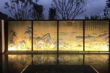 园林景观山水陶瓷壁画千里江山图